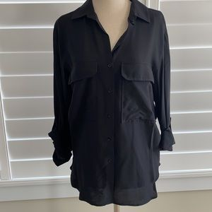 Zara black button up top, size small. Like new!
